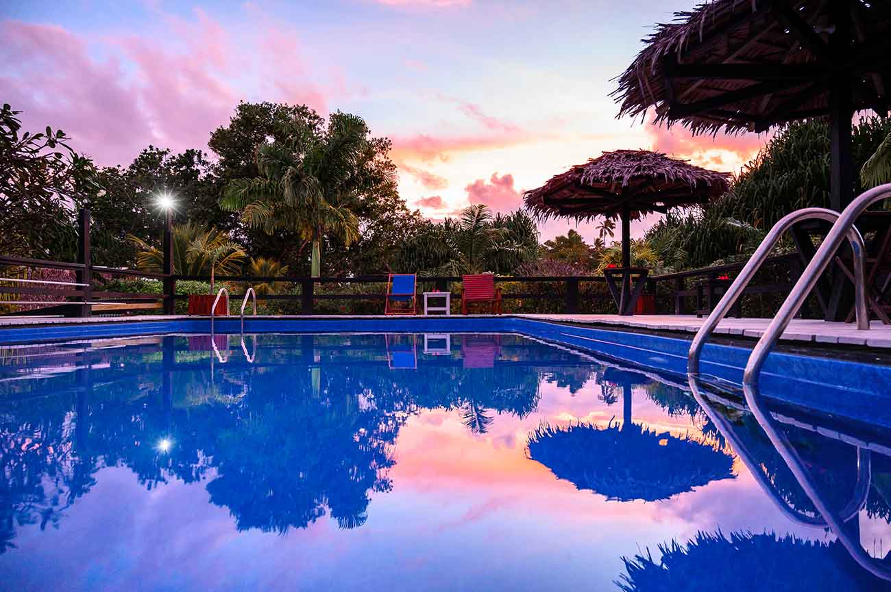 Swimming pool at sunset at Turtle Bay Lodge