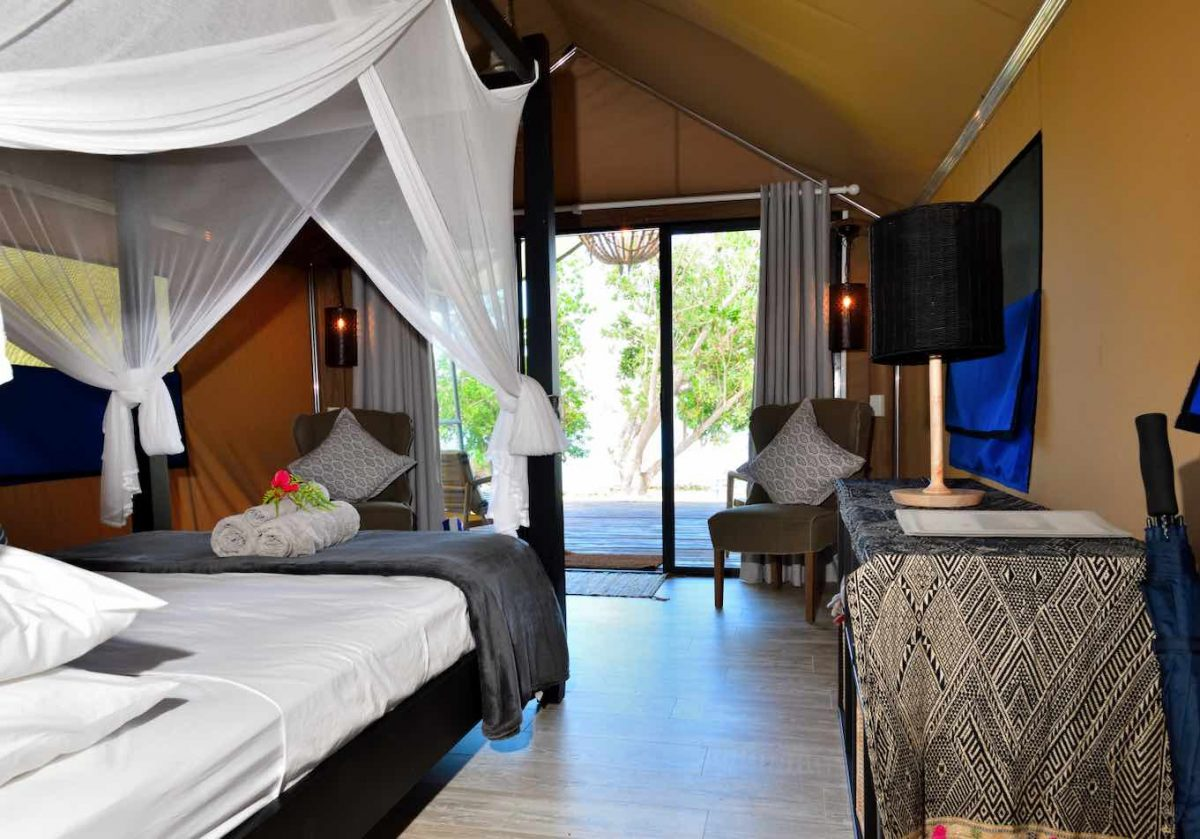 Inside luxury marquee at Turtle Bay Lodge Santo. Beautifully situated near to the Blue Holes