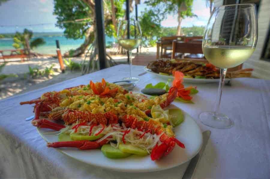 Dining with lobster at Turtle Bay Lodge, Santo