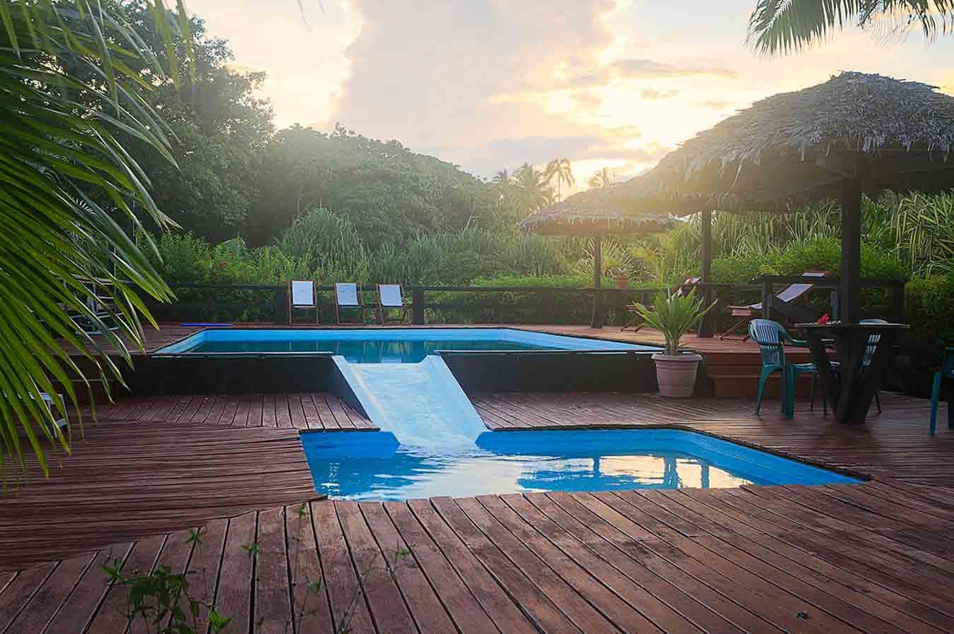 Swimming pool at sunset at Turtle Bay Lodge
