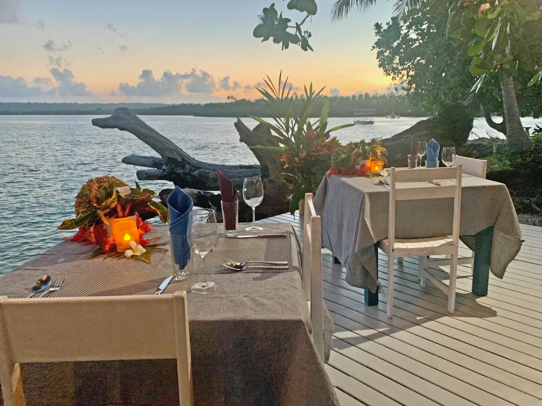 Restaurant lighting at Turtle Bay Lodge.